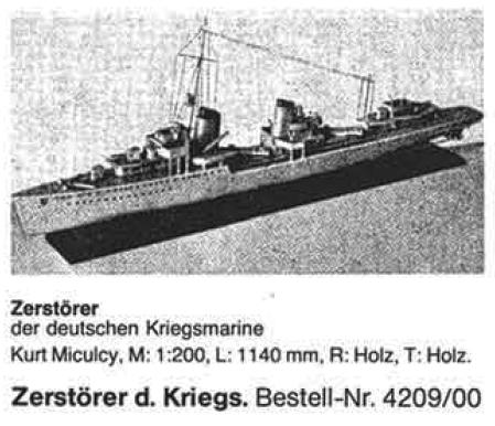 Bauplan ZERSTOERER KR.